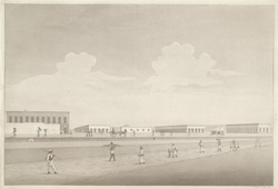 'View of the Cantonments at Berhampore'.  Aquatint, drawn and engraved by James Moffat, published Calcutta 1806.
